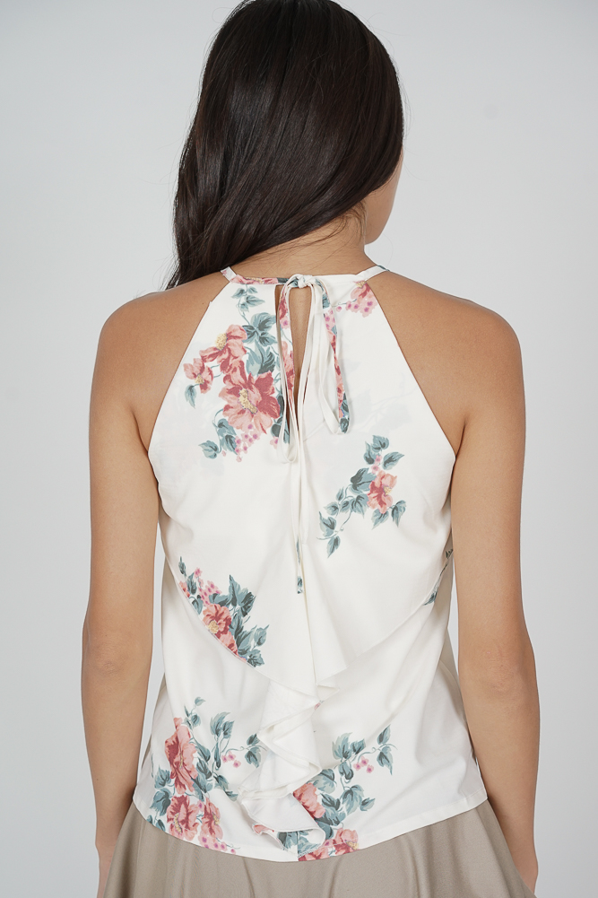 Cutout Ruffled Top in White Floral - Arriving Soon