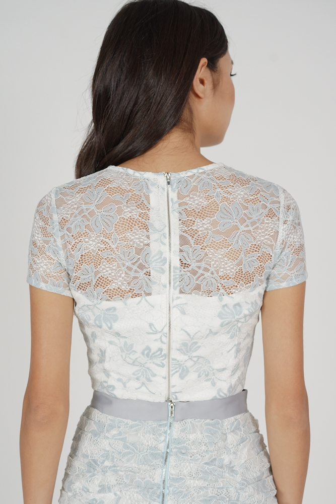Raeah Lace Top in Ash Blue