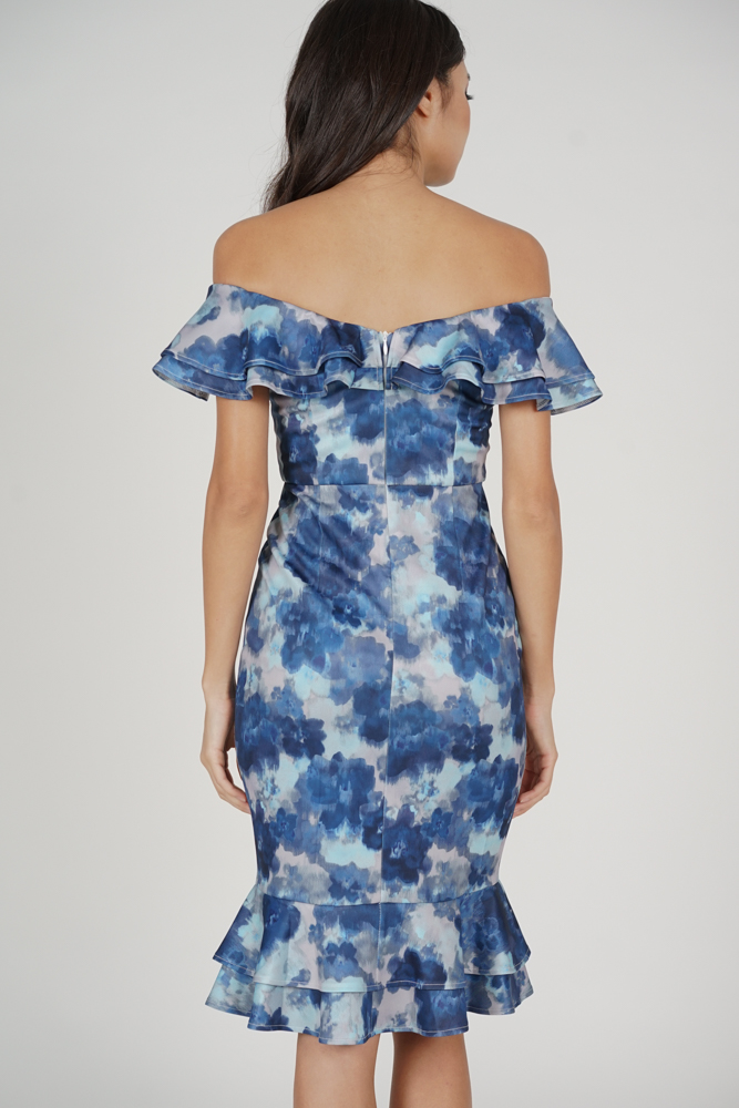 Flounce Mermaid Dress in Blue Abstract