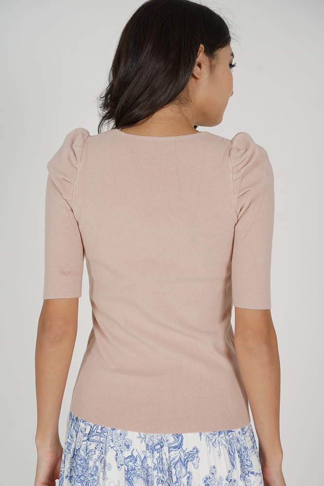 Elliot Gathered Front Top In Light Pink - Online Exclusive
