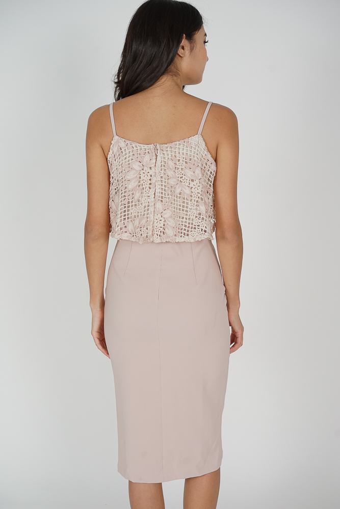 Nessa Crochet Overlay Dress in Pink