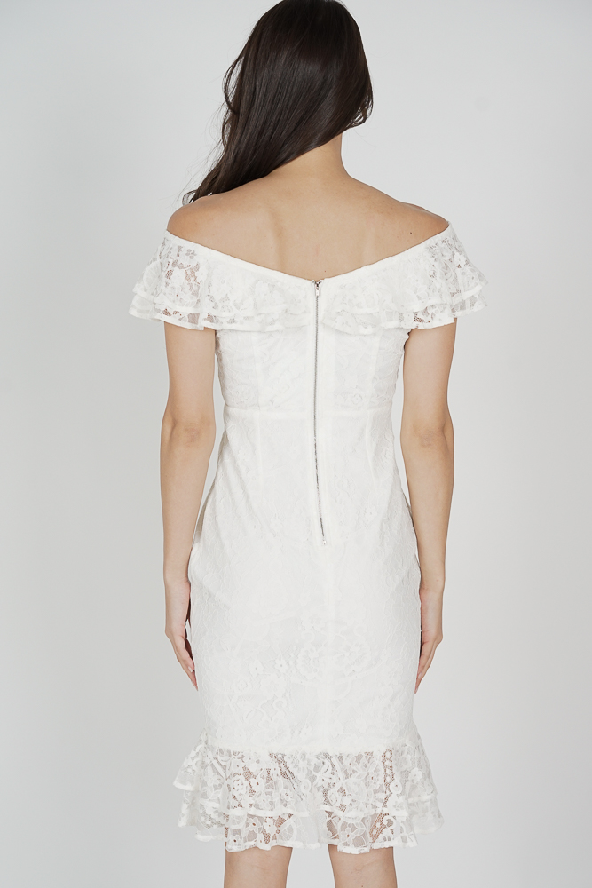 Saria Flounce Lace Dress in White - Arriving Soon
