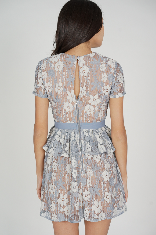 Neina Lace Dress in Ash Blue - Arriving Soon