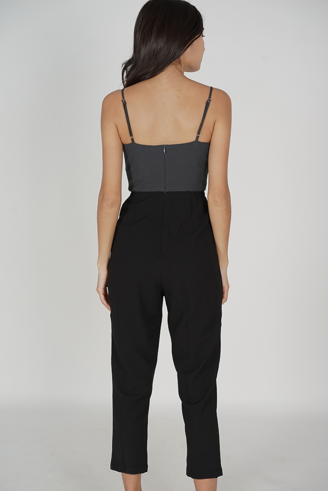 Aldon Cami Pleated Jumpsuit in Grey Black - Arriving Soon