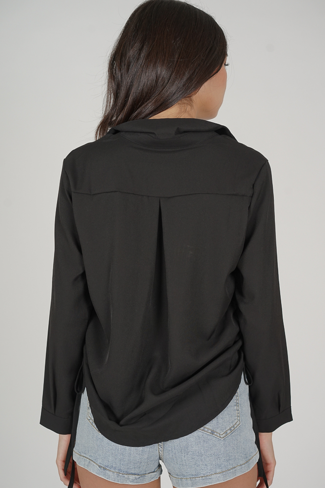 Lucie Side Gathered Top in Black - Online Exclusive