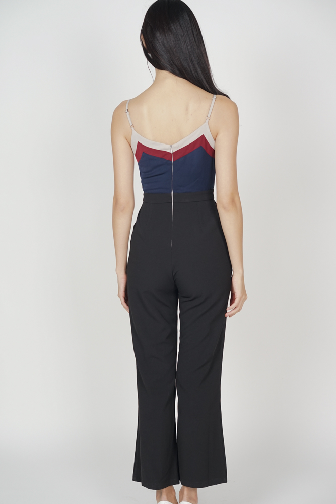 Delxie Contrast Jumpsuit in Black