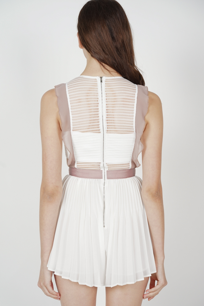Beria Pleated Skorts Romper in White - Arriving Soon