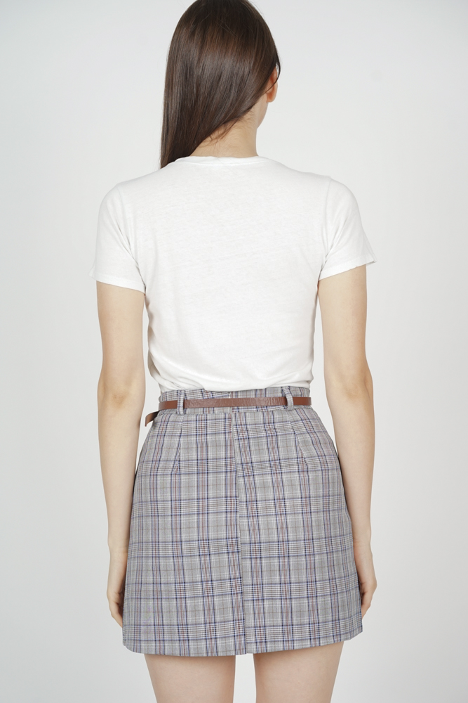 Keri Belted Skirt in Blue Checks - Online Exclusive