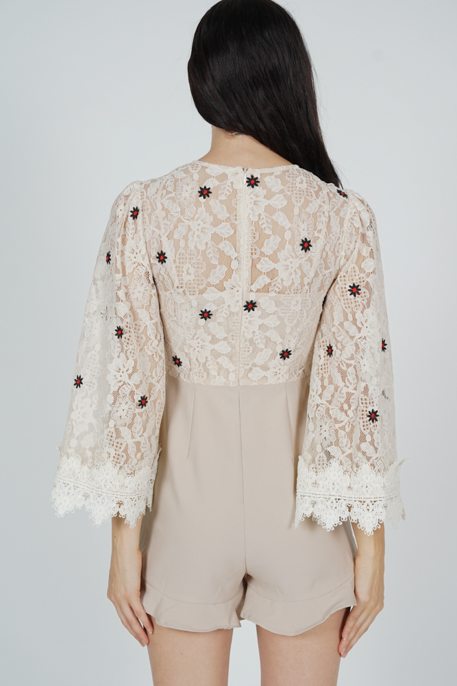 Rinda Lace Romper in Nude Floral