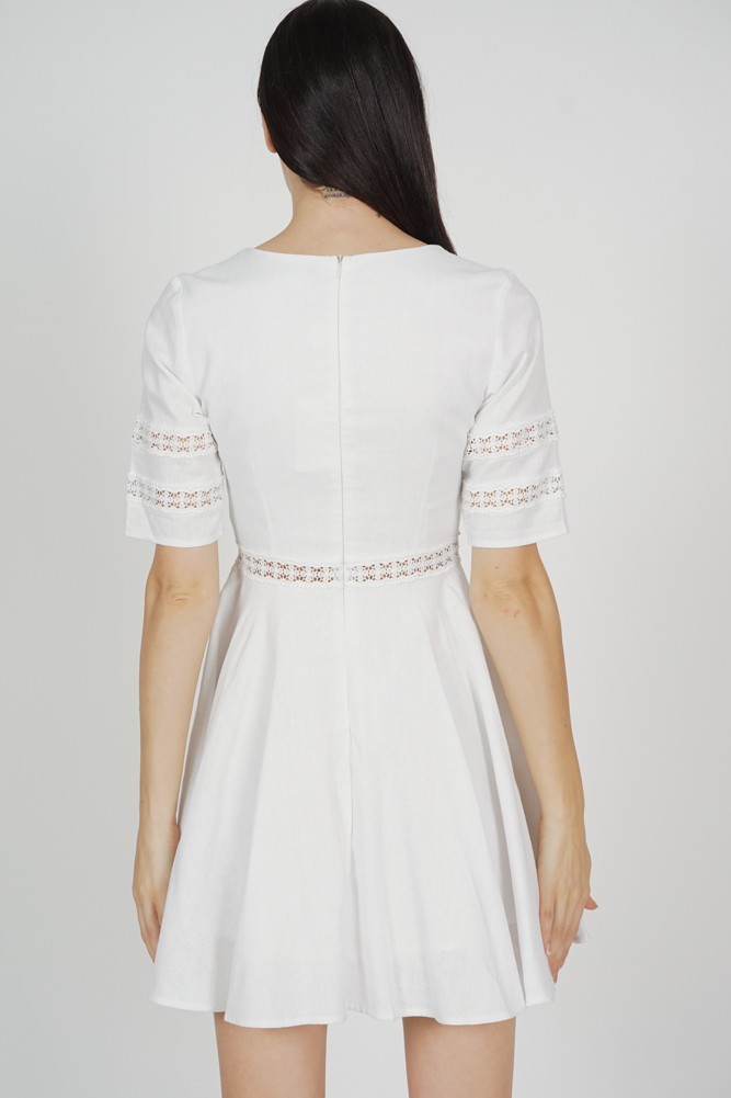 Taylor Flared Dress in White - Arriving Soon