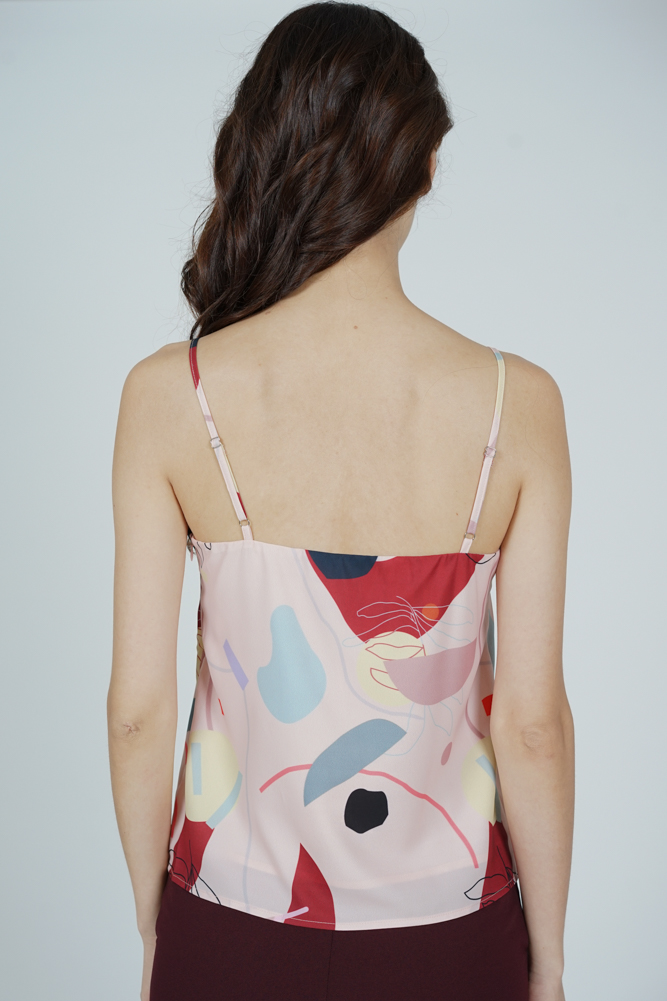 Marno Abstract Cami Top in Pink Red