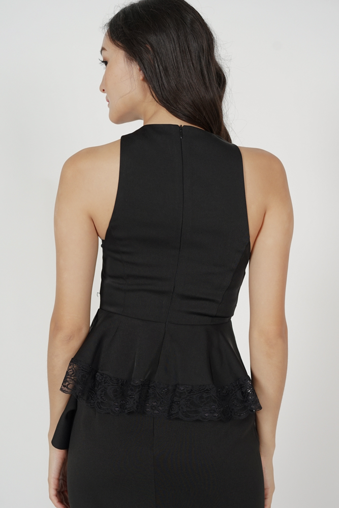 Eriza Lace-Trimmed Top in Black