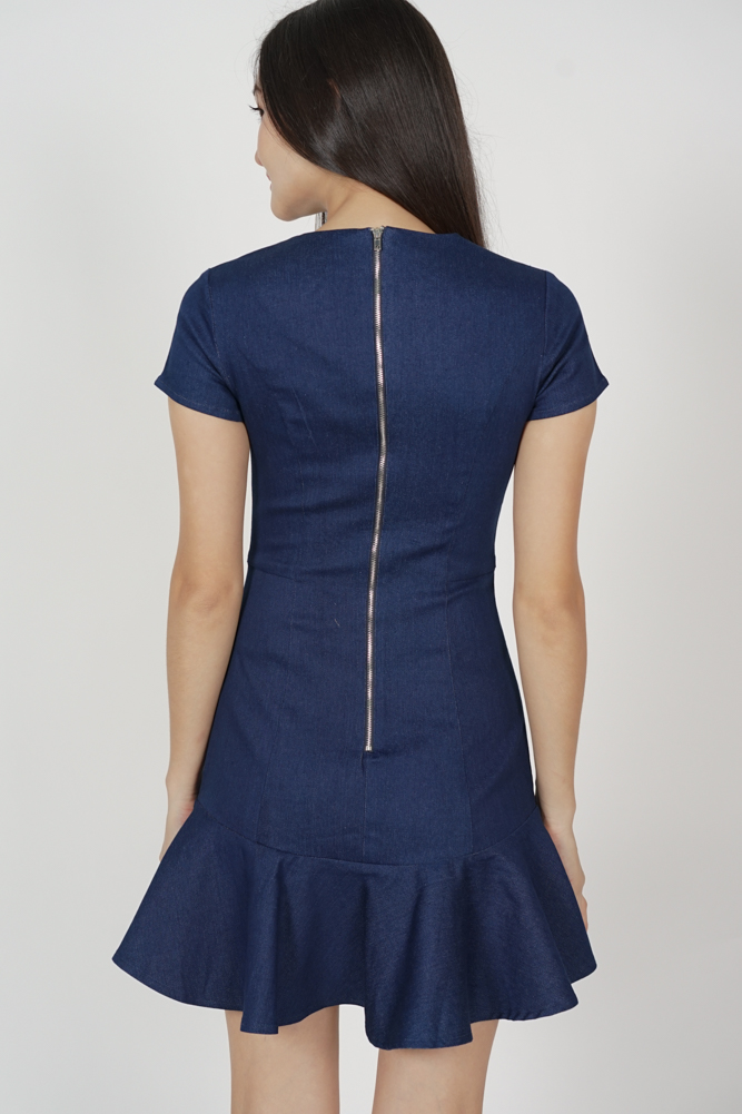 Sonya Ruffled-Hem Dress in Dark Blue - Arriving Soon
