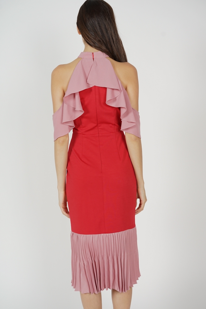 Theris Ruffled Halter Dress in Red - Arriving Soon