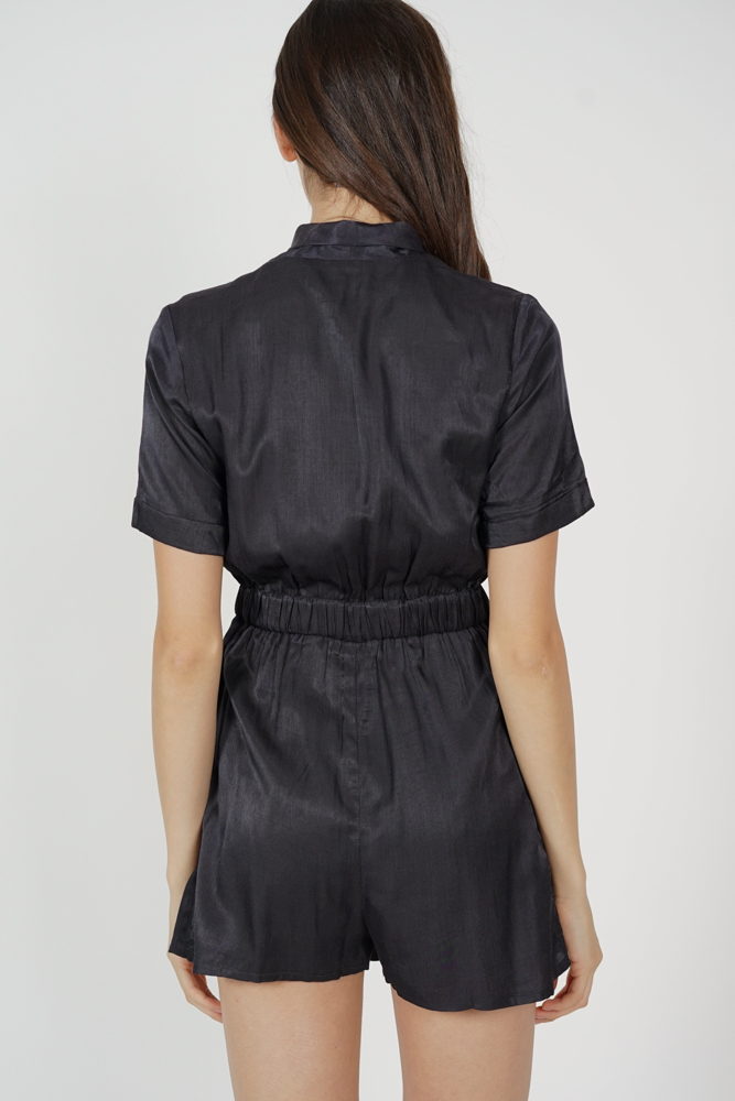 Nomi Buttoned Romper in Midnight - Arriving Soon