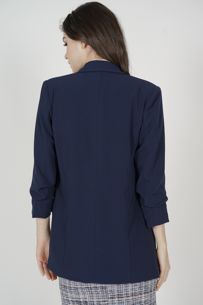 Maizel Gathered Sleeve Blazer in Midnight - Arriving Soon
