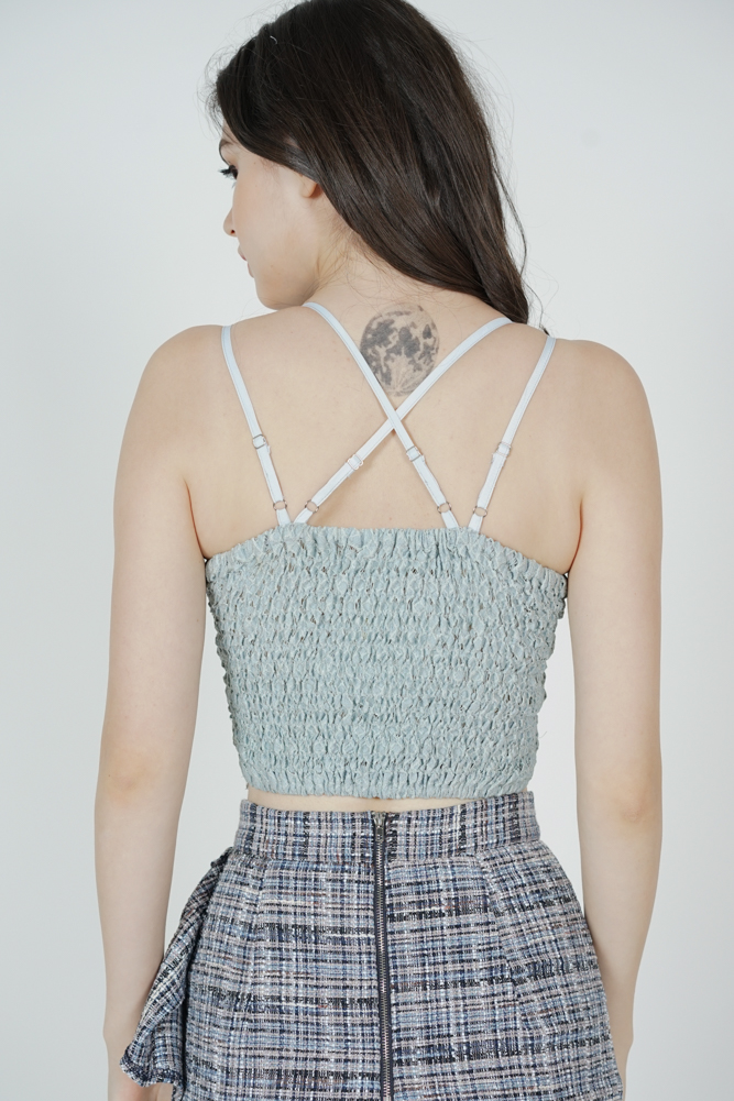 Naida Lace Top in Ash Blue - Arriving Soon