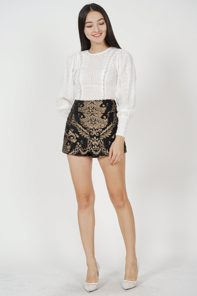 Ander High Waist Skorts in Black Gold