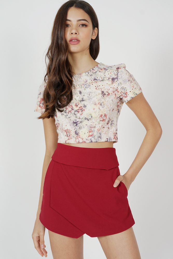 Ellina High Waist Skorts in Maroon - Arriving Soon