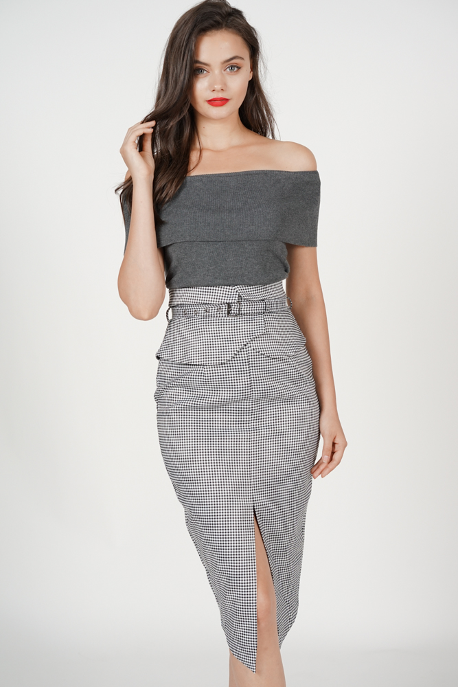 680ea9926c Flap-Over Pencil Skirt in Black Gingham