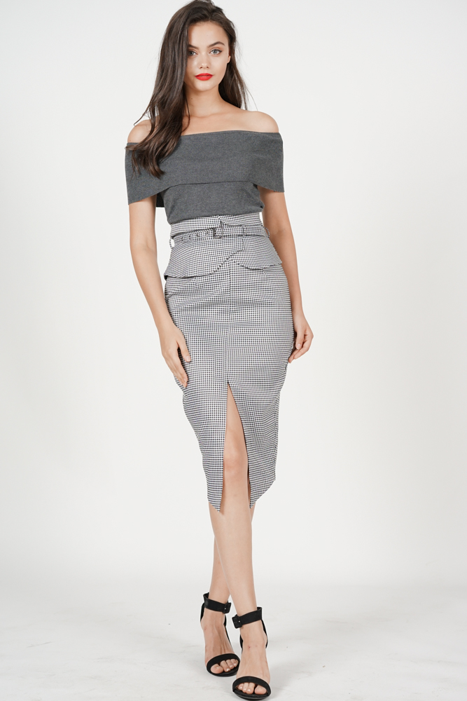 Flap-Over Pencil Skirt in Black Gingham - Arriving Soon