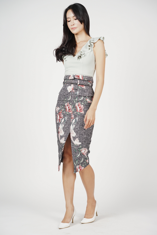 Flap-Over Pencil Skirt in Floral Tweed