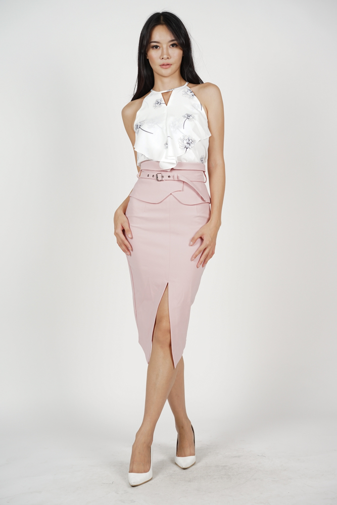 Flap-Over Pencil Skirt in Pink