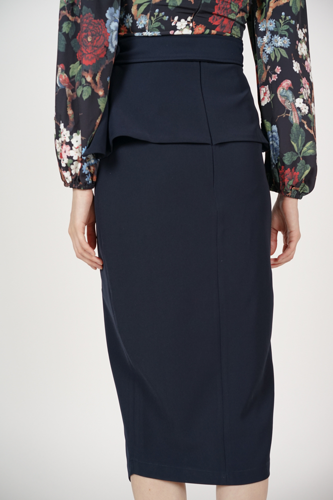 Fold-Over Pencil Skirt in Midnight
