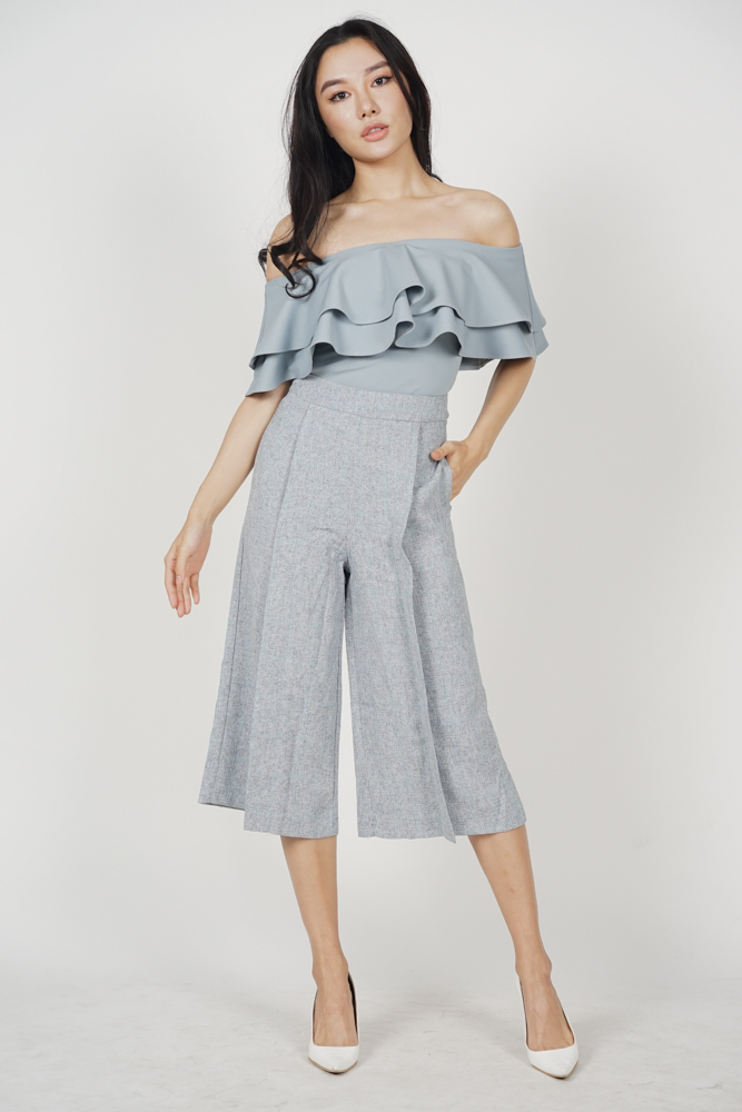 Eavan Pleated Culottes in Grey