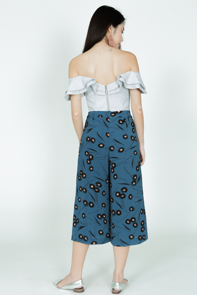 Pleated Culottes in Teal Floral