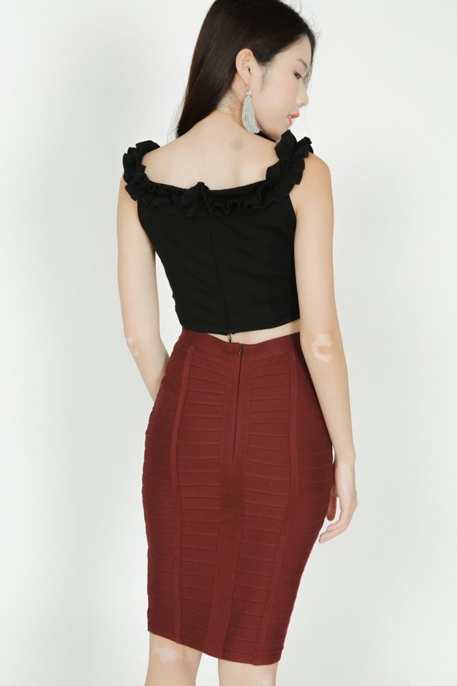 Piped Bandage Skirt in Oxblood