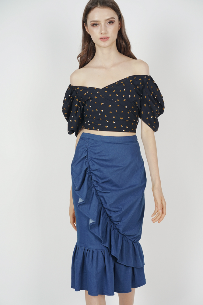 Jermaina Ruffled Skirt in Blue Denim