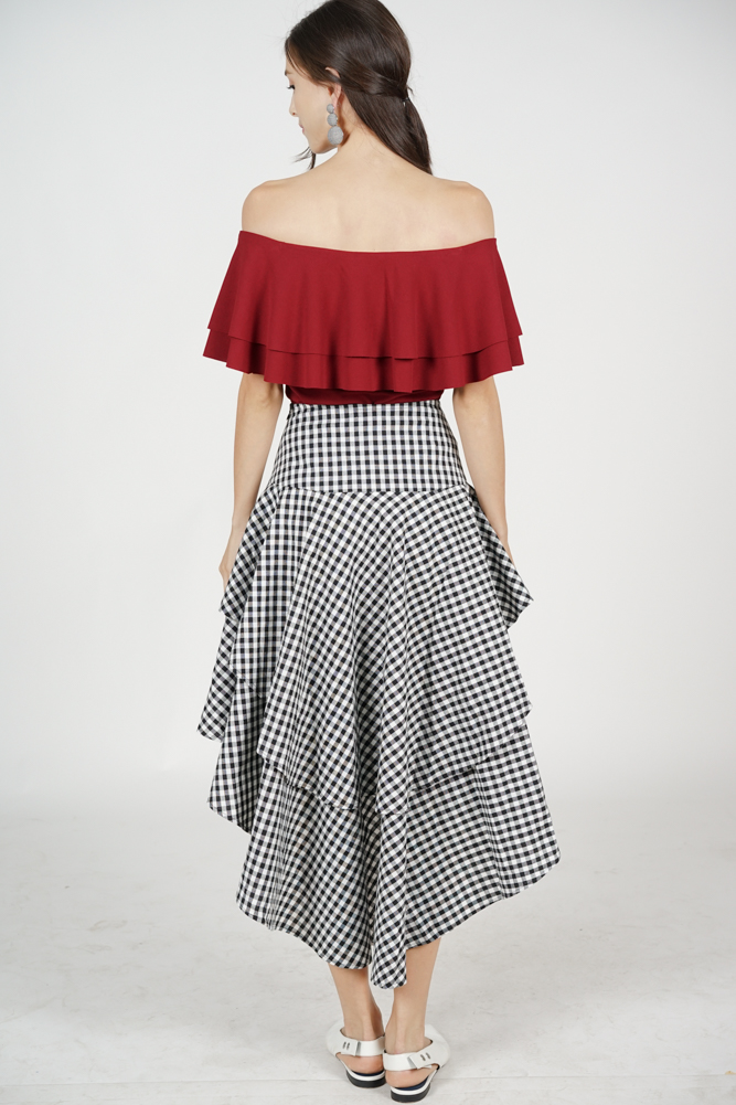 Asymmetrical Ruffled Skirt in Black Gingham - Arriving Soon