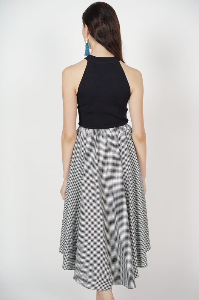 Uneven Ruffle Skirt in Black Gingham