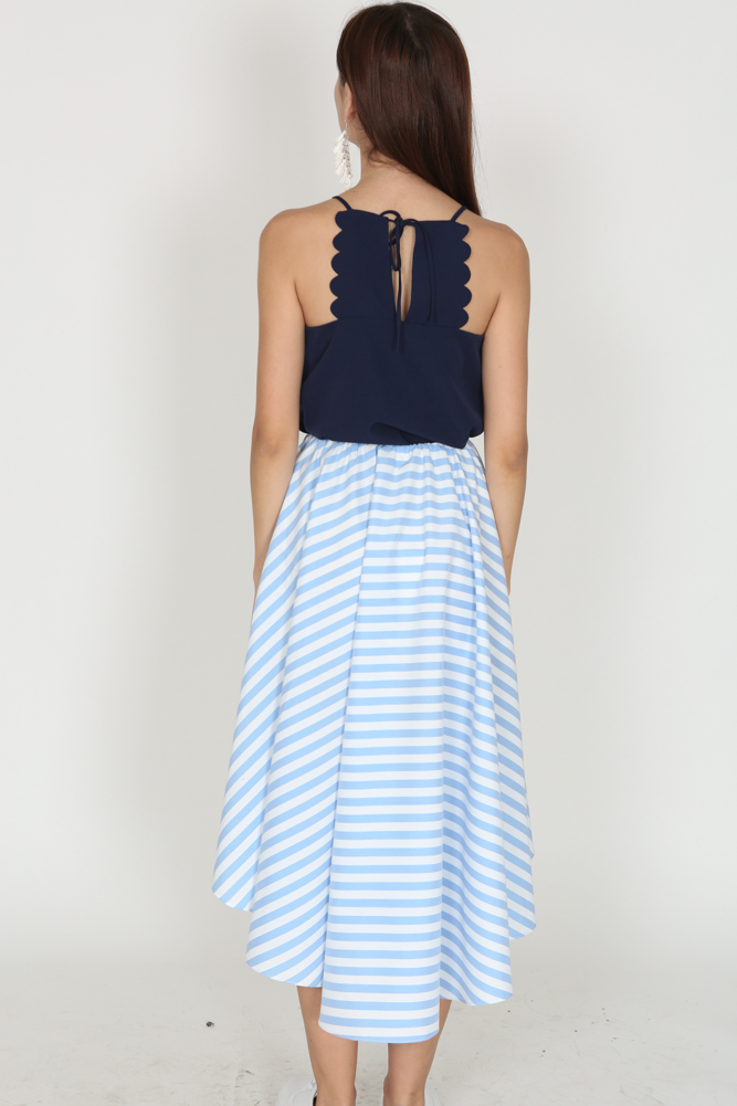 Uneven Ruffle Skirt in Blue Pinstripes