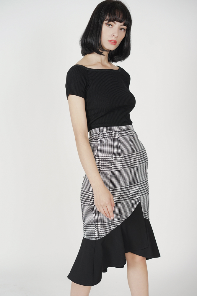 Color-Block Mermaid Skirt in Black Houndstooth - Arriving Soon