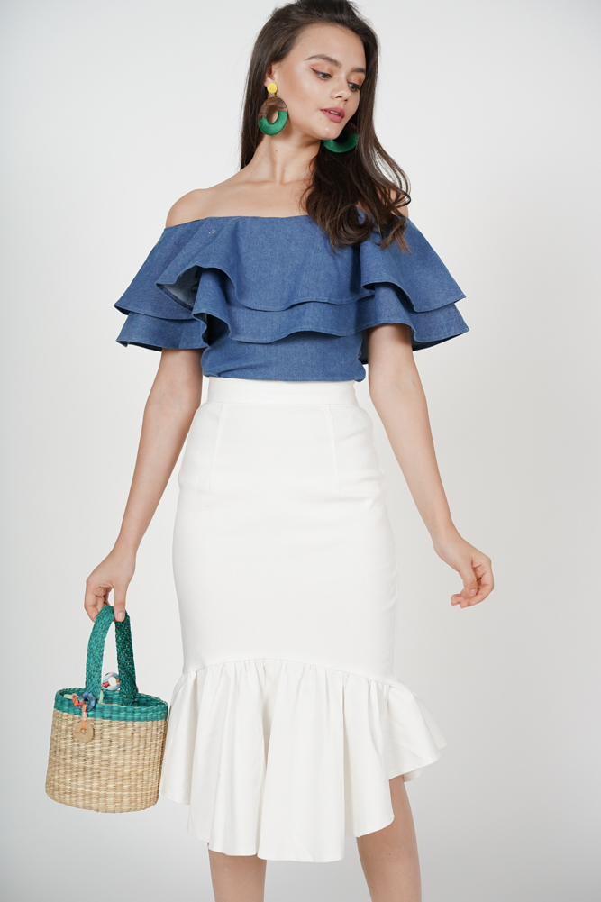 Denim Mermaid Skirt in White