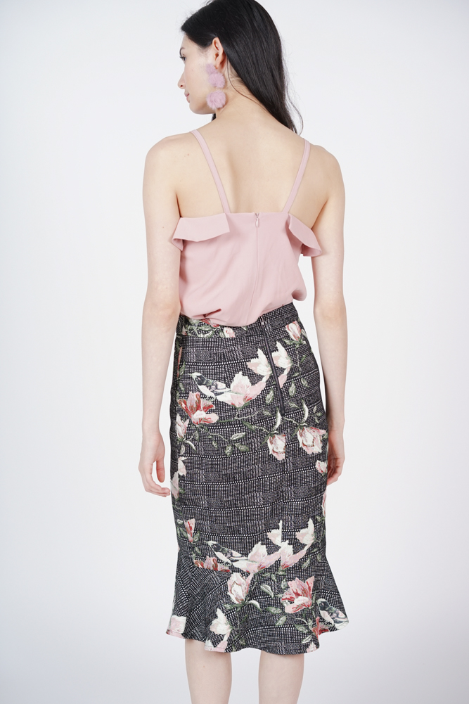 Tweed Flare-Hem Skirt in Embroidery - Arriving Soon