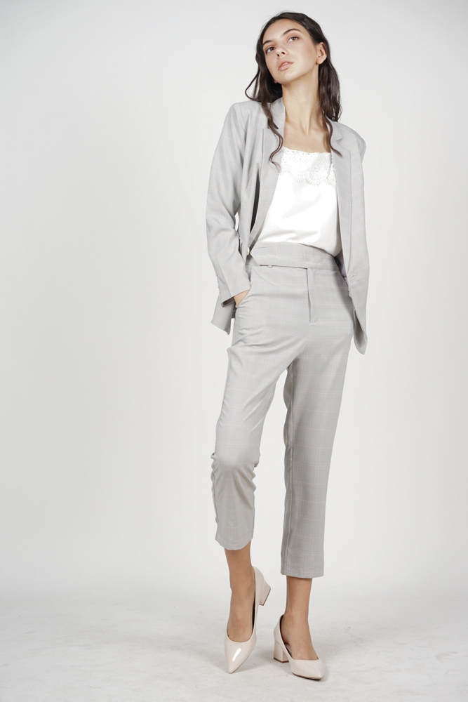Contemporary Straight Pants in Light Grey