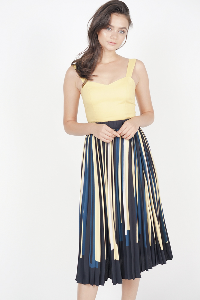 Contrast Pleated Skirt in Buttercup - Arriving Soon