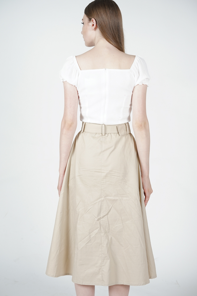Buttoned Flare Skirt in Khaki