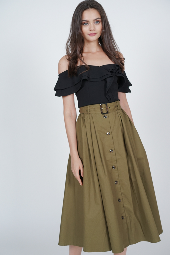 Buttoned Flare Skirt in Olive