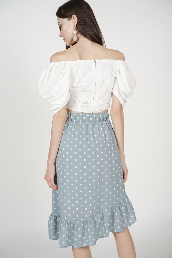 Dacia Button-Down Skirt in Ash Blue Polka Dots