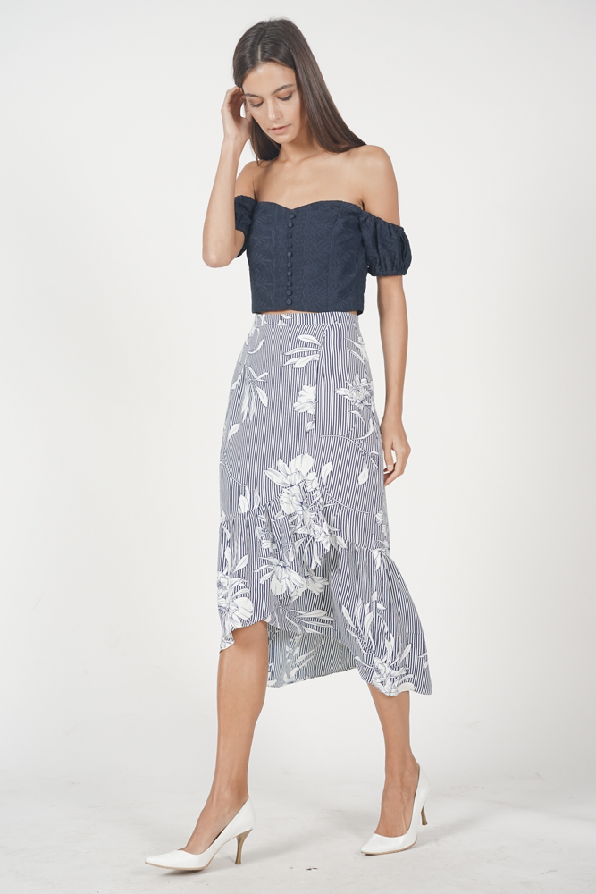Cecilia Ruffled Skirt in Midnight Stripes Floral