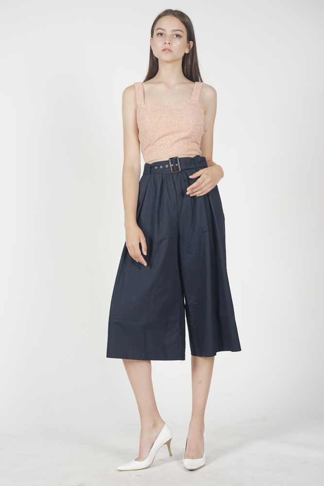 Rumi Pleated Culottes in Midnight