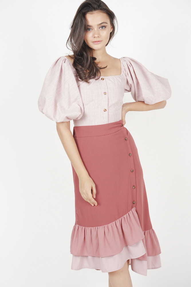 6b749ce39c Jerica Button-Down Skirt in Dark Mauve