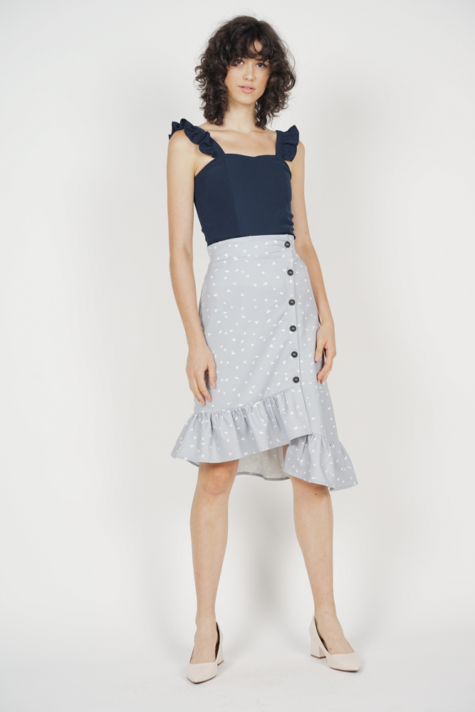 Diallea Button-Down Skirt in Ash Blue - Arriving Soon