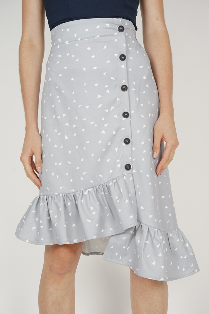 Diallea Button-Down Skirt in Ash Blue - Online Exclusive