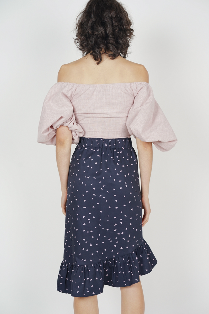 Diallea Button-Down Skirt in Midnight - Arriving Soon