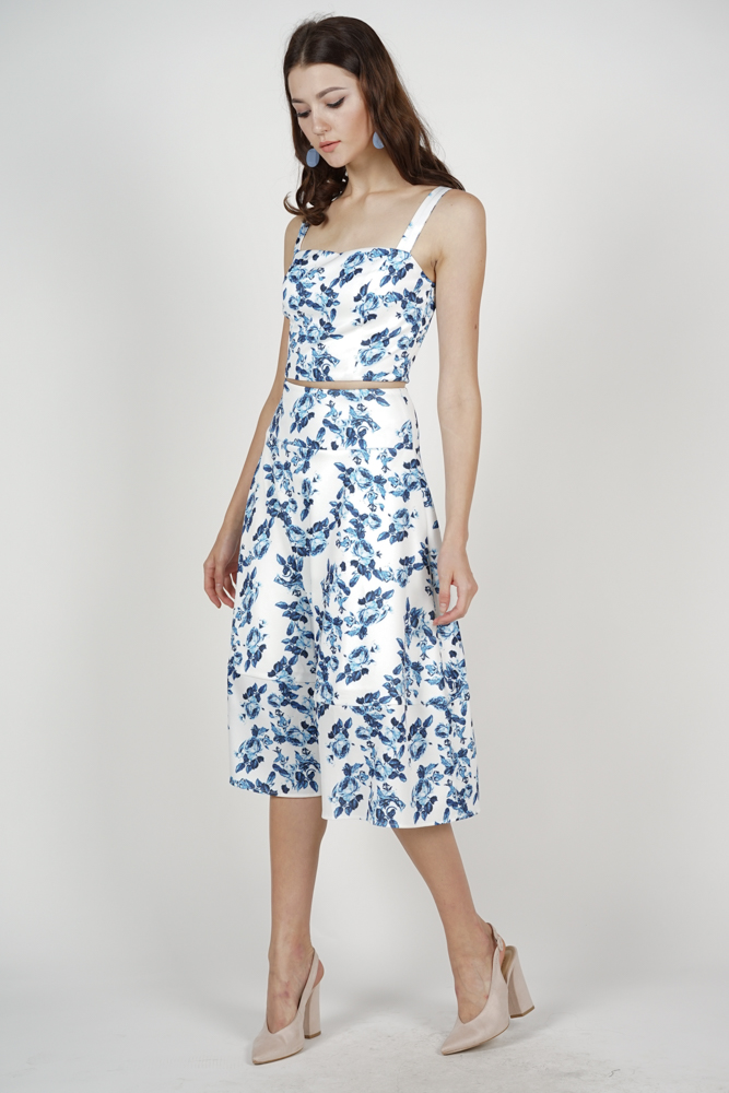 Avery Flare Skirt in Blue Floral - Arriving Soon